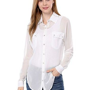 Allegra K Ladies Point Collar ButtonDown Loose Chiffon Shirt M White