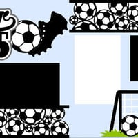 Scrapbook Page Kit 2-page 12X12 Premade Scrapbooking Page Layout or Page Kit-Soccer 2015-You Choose Background Color