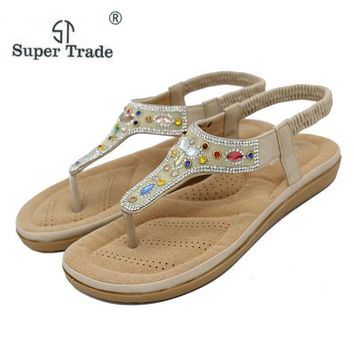 Bohemian National Diamond Sandals Flip Flops Summer Sandals Rivet Sandals Flats Shoes