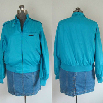 Members Only Bomber Jacket WindbreakerTurquoise Blue Size Large Unisex Vintage 1970s