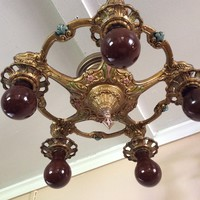 Antique Art Deco Ceiling Light Fixture Chandelier Polychrome Original Paint and Patina 1920s