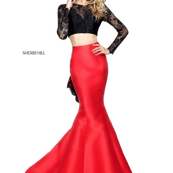 Sherri Hill 51169 Sleeved Crop Top Prom Dress