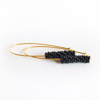 Black gold long dangle earrings Minimalist modern beaded beads fashion jewelry