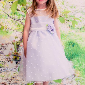 Lilac & White Polka Dot Crystal Organza Girls Dress 2T-12