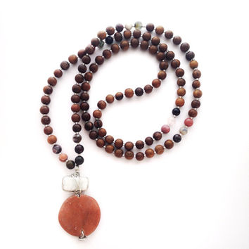 Serenity Mala | 108 Mala Bead Necklace | Mixed Gemstones, Robles Wood, Wire Wrapped Marble, and Coral Gemstone {pink, green, white, brown}