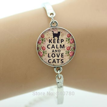 Keep Calm and Lovely Cats Bracelet Keep Calm charm Cat lover jewelry glass Cabochon Art picture charm bracelet&bangle for gift