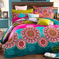 Bohemia boho 100% Polyester 4PCS Bedding set Duvet cover flat sheet and 2 pillow cases bed clothes