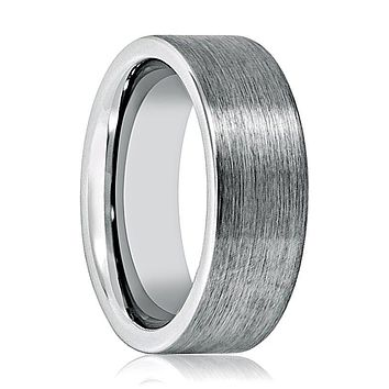 Aydins Tungsten Carbide Wedding Band Brushed Pipe Cut 8mm Tungsten Mens Ring