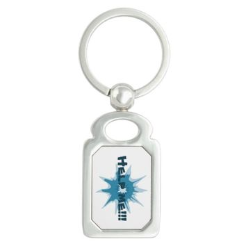 Blue bullet hole. Add your text. Keychain