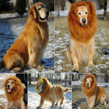 Pet Costume Dog Lion Wigs Mane Hair Festival Party Fancy Dress Halloween Costume pet lion hair pet hair accessories