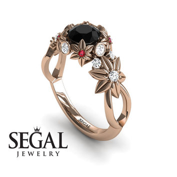 Unique Engagement Ring 14K Red Gold Flowers And Branches Art Deco Edwardian Ring Black Diamond With White diamond - Katherine