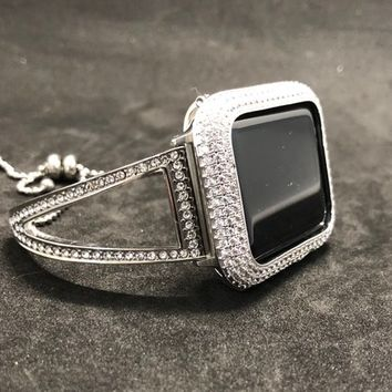 Apple Watch Bangle Cuff Band 38mm/40mm 42mm/44mm Series 1 2 3 4 Women Mens Silver Rhinestone Crystal/Case Cover Bezel Iced Out Lab Diamonds