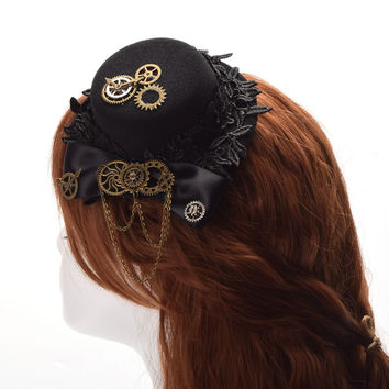 Steampunk Gear Top Hat Black Bowknot Small Hair Clip Lolita Gothic Punk Head Wear