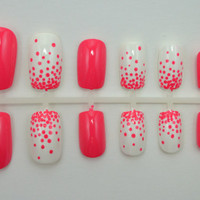 "Artificial Nails - ""Dot Gradient"" -  Coral & White (More Colors Available), Hand Painted, Fake Nails"
