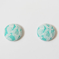 Teal and Lace Post Earrings
