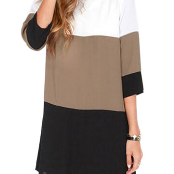 Color Block Half Sleeve Keyhole Back Shift Dress