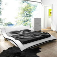 Queen Size Modern White Faux Leather Upholstered Bed With Padded Headboard