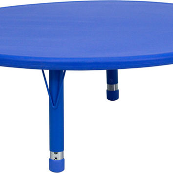 45'' Round Height Adjustable Blue Plastic Activity Table