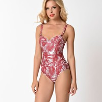 Kingdom & State Retro Style Burgundy Sketch Palm Print One Piece Swimsuit