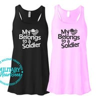 My Heart Belongs to a Soldier Custom Racerback Tank Top Shirt, Army, Air Force, Marines, Navy, Military Wife, Fiance, Girlfriend