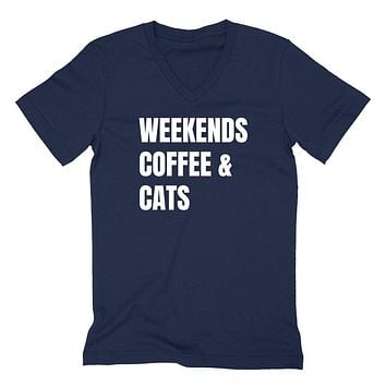 Weekends coffee and dogs funny weekend lover cool saying graphic gift idea  V Neck T Shirt