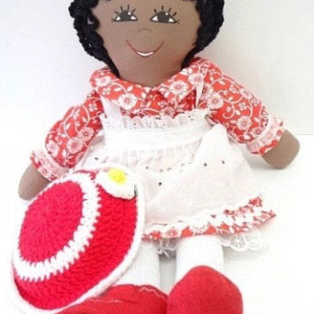 rag doll red hat white flower African American little girl fun toy, NF145