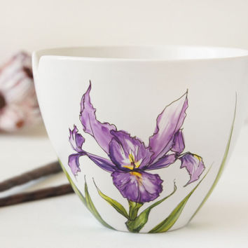 Noodle Bowl - Iris Flowers, Botanical Collection - made to order