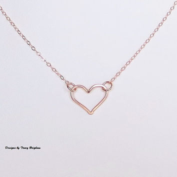 14K Rose Gold Filled Wire Heart Pendant Necklace Bridesmaid Best Friend Sister Mother Girlfriend Wife Maid of Honor Gift Idea