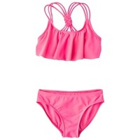 Girls' 2-Piece Ruffled Bandeau Bikini Swimsuit Set