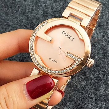 Gucci Woman Men Fashion Print Watch Business Watches Diamond G Wrist Watch B104499-1 Rose Golden
