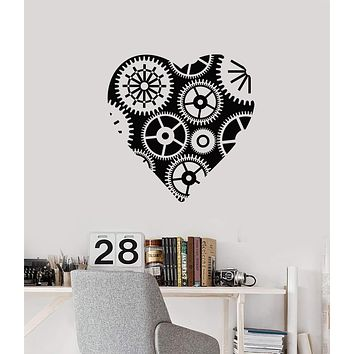Vinyl Wall Decal Steampunk Heart Gears Mechanical Art Garage Decor Stickers Mural (ig5599)