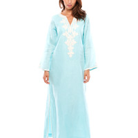 Anika Caftan - Turquoise and White