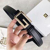 Givenchy Fashion New G Letter Buckle Leather Women Men Leisure Belt Black Width 2.4 CM With Box