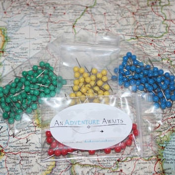 Push Pin Travel Map Pins - World Map - USA Map
