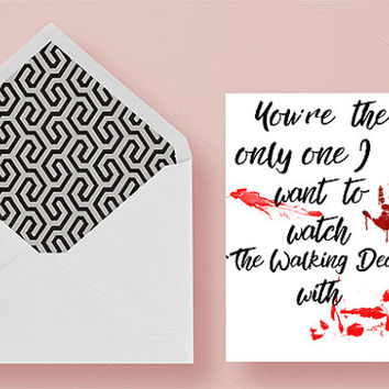 Walking Dead Valentine's day card, Funny Valentine's Day card, Anniversary card, Funny Anniversary card, Printable Walking Dead Card