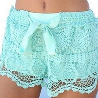 Bohemian Lace Crochet Stretch Short with bow