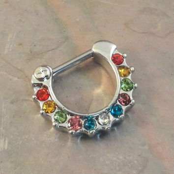 16 Gauge Multi Color Crystal Daith Ring Clicker Bull Ring Nose Piercing