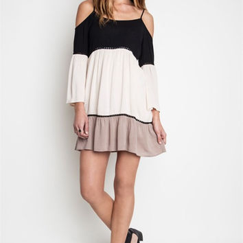 Color Block Off Shoulder Dress - Black and Khaki