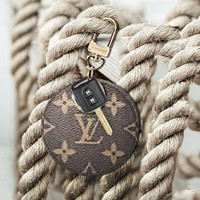 LV Louis Vuitton Classic Popular Couple Chic Circular Small Bag Leather Key Pouch Car Key Wallet