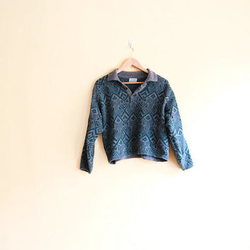 Vintage Benetton Wool Sweater - Cropped Sweater Collared Sweater
