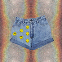 90s Grunge High-waisted Shorts // Smiley // Smiley Face Shorts // 90s // Grunge // Space // Space Grunge // Punk // Smily Face// Levi Shorts