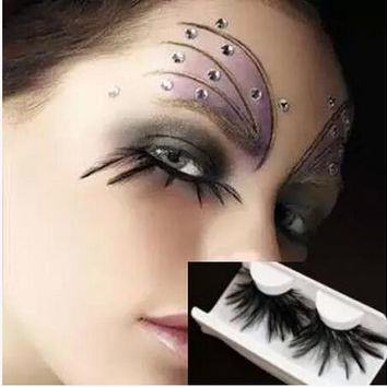 Freeshipping new arrival charming hand make false eyelash turquoise ultra long natural feather party eyelases make up extension