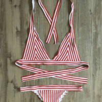 Hot sale white red stripe hanging neck back knot sexy two piece bikini