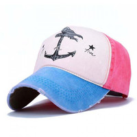Pink and Blue Anchor Baseball Cap