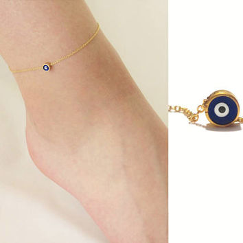 Gold Evil Eye Anklet, Ankle Bracelet with Evil Eye Charm, Nazar Anklet, Gold Evil Eye Jewelry, Talisman, Protection Bracelet /  A801