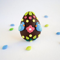 Easter Egg Pin Birds and Flowers - Fun chocolate jewelry with blue birds - Garden brooch