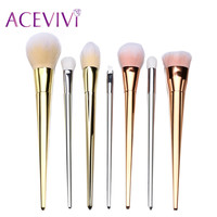 ACEVIVI Brand Gold 7 Pcs Makeup Brushes Set Synthetic Hair Make Up Brushes Tools Cosmetic Foundation Brush Kits