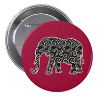 Black and White Swirls Elephant on Red Pinback Button