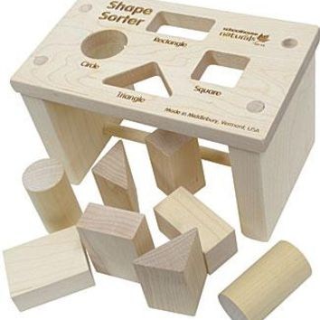 Natural Wood Shape Sorter Bench