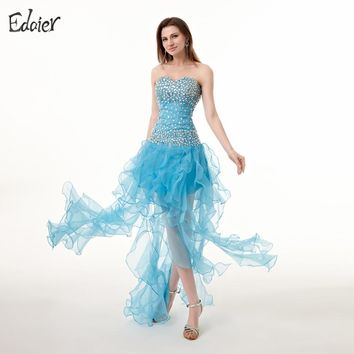 Sexy Backless Prom Dresses Long 2017 A-Line Sweetheart Beaded Crystals High Slit Formal Evening Gown Plus Size Evening Dresses